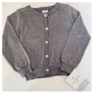 CARTER'S Gray Cardigan w/Silver Metallic Threading